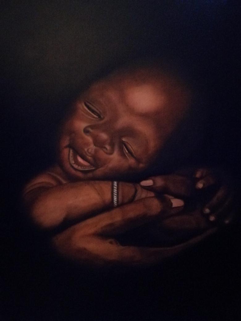 Baby  Afmeting: 40 x 50 3D  Materiaal: olieverf  Prijs: op aanvraag